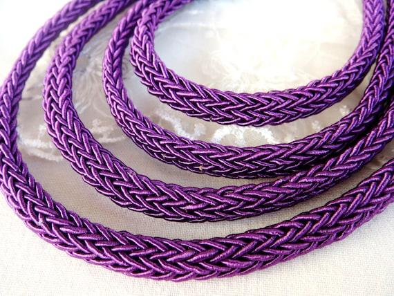 Semisoft Cord 46cm1.5 feet18 Oval Braided Trim Cord Purple String Cord 8x10mm Licorice Style Rope 1 piece