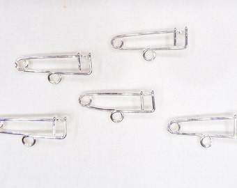 """Silver One Loop Safety Pin Brooch, 1 Hook Safety Pin Brooch, Charm Holder 0,98""""x0,04"""" / 25x1mm - 10 pieces"""