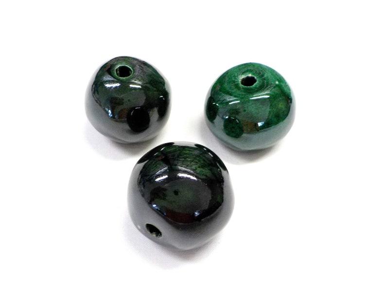35mm Organic Round Extra Large Ceramic Beads Round Ceramic Beads Handmade Enameled Ceramic 1pc Green Glazed Greek Ceramic