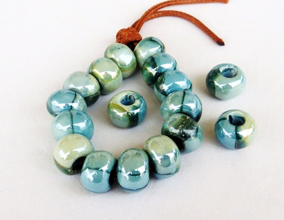 Center Hole Approximately 5mm 10mm Wide Sold Per Bead Made In Greece Autumn Ceramic Rondelle Beads 15mm Length