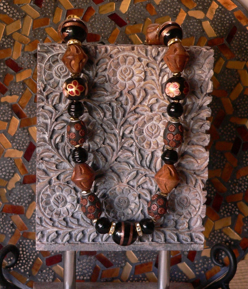 texture necklace brown and black handmade necklace brown necklace bold necklace glass and wood gift for women statement necklace