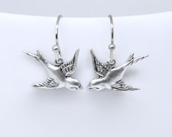 anniversary or friendship gift Two silver birds in flight hanging on silver tone chain on each earring Silver bird earrings Birthday