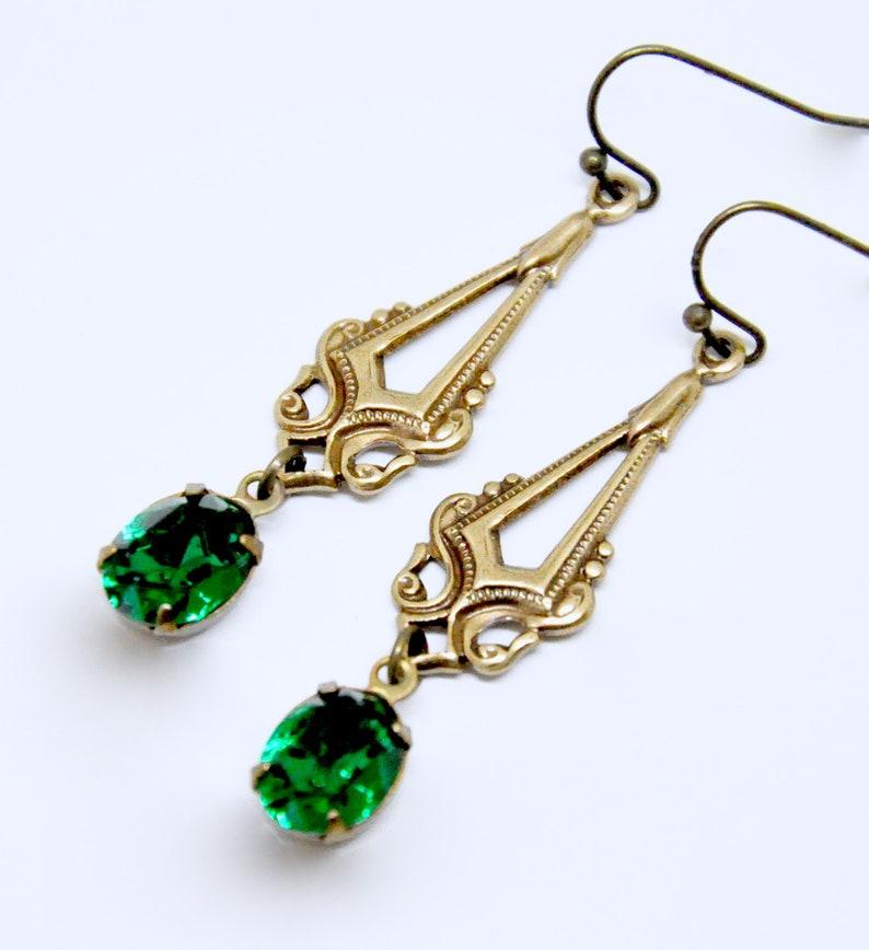 Antique Brass Filigree Earrings May Birthstone Jewelry Gift Art Deco Emerald Earrings Green Crystal Dangle Earrings