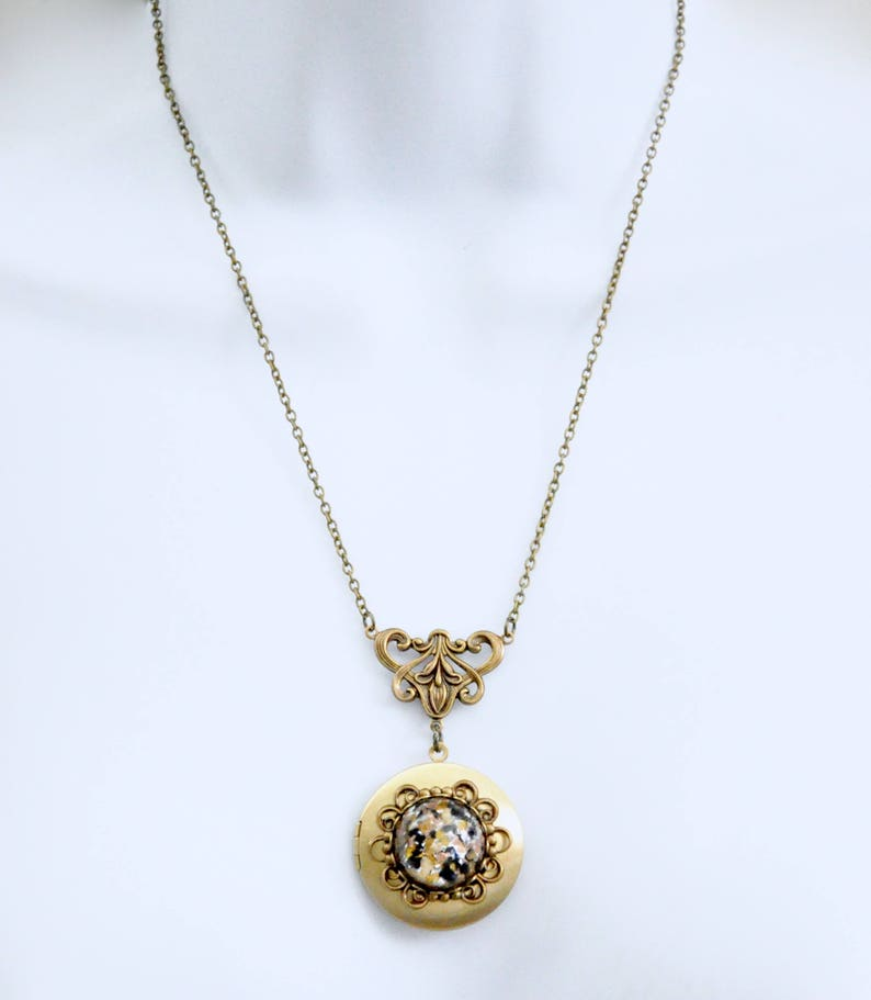 Bridesmaid Gift Antique Brass Locket Art Deco Locket Art Nouveau Locket Brown Stone Locket Necklace Victorian Necklace Czech Glass