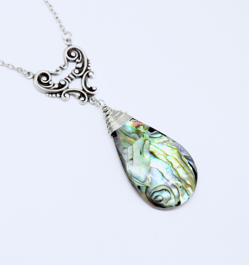 Large Paua Shell Necklace Abalone Necklace Romantic Paua Shell Jewelry Antique Silver Teardrop Pendant Necklace Heart Filigree