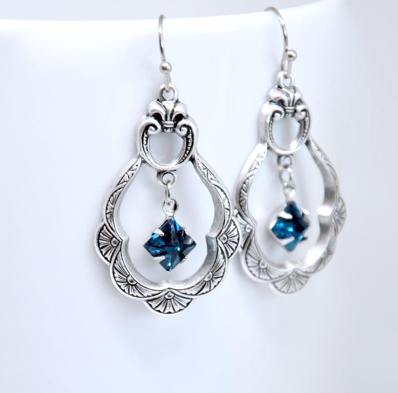 Art Deco Earrings Blue Crystal Earrings Montana Sapphire Hoop Earrings Silver Sapphire Earrings Smoky Blue Earrings Victorian Jewelry