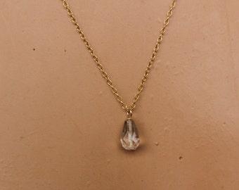 Small Quartz Necklace, Dainty Necklace, Quartz Pendant, Delicate, Quartz Briolette, Faceted, Layering Necklace, Layered, Minimalist