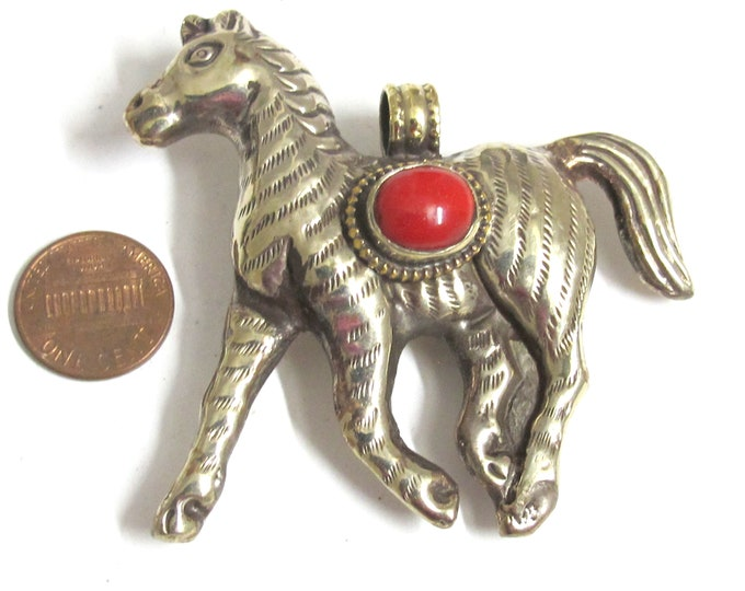 Horse pendant Tibetan antiqued silver finish Horse jewelry pendant with coral inlay - PM150MB