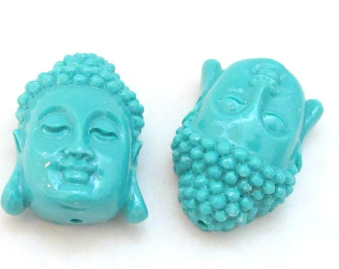 1 Bead - Blue resin coral Buddha face pendant bead - BD704