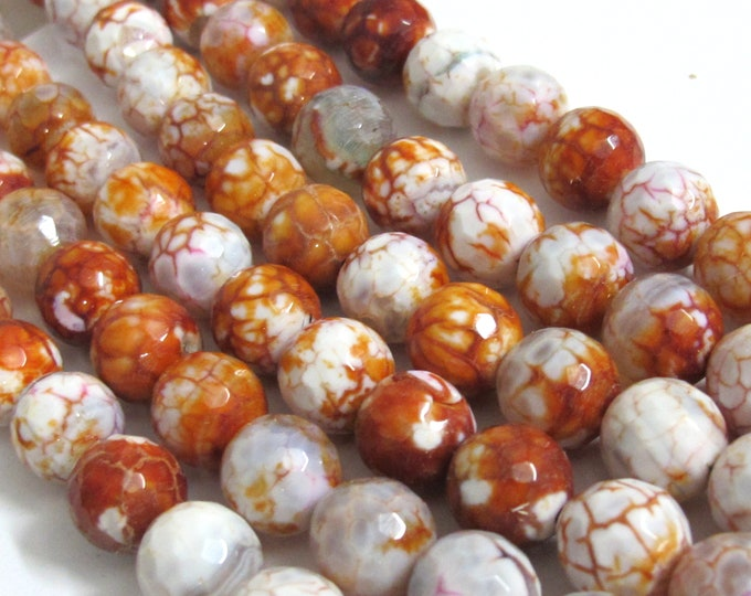 10 Beads-Exotic fire agate brown orange red grey dragon veins faceted agate gemstone beads 10 mm  - GM219K