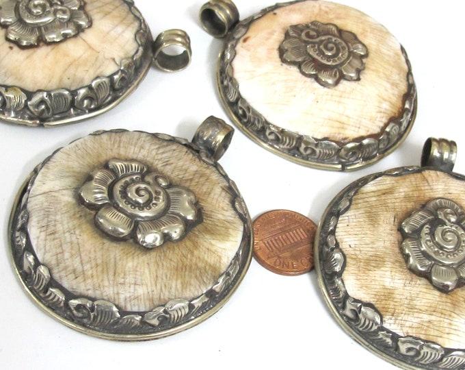 1 pendant - Large Ethnic Tibetan Nepal antiqued silver finish  naga conch shell  pendant with flower design   - PM547G