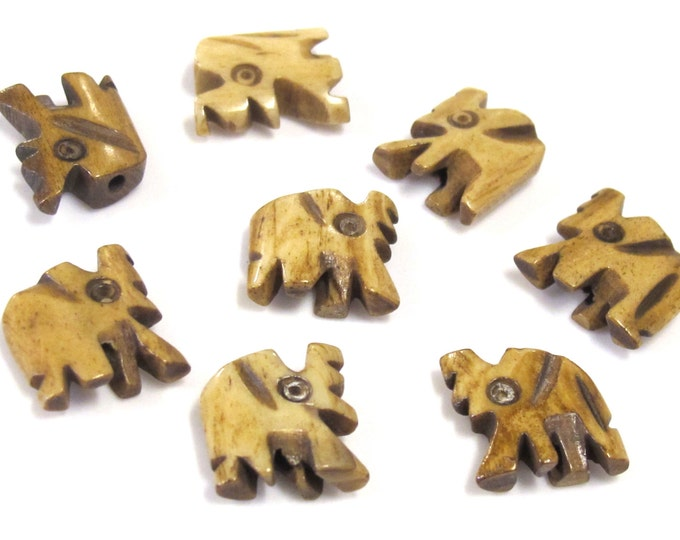 4 Beads - Small carved elephant design ivory color bone beads  - HB069