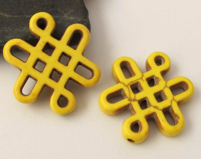 2 beads - Tibetan knot symbol magnesite beads - Yellow color - GM159