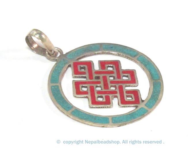 1 Pendant - Round thin disc shape Tibetan infinity Endless knot pendant - PM307D