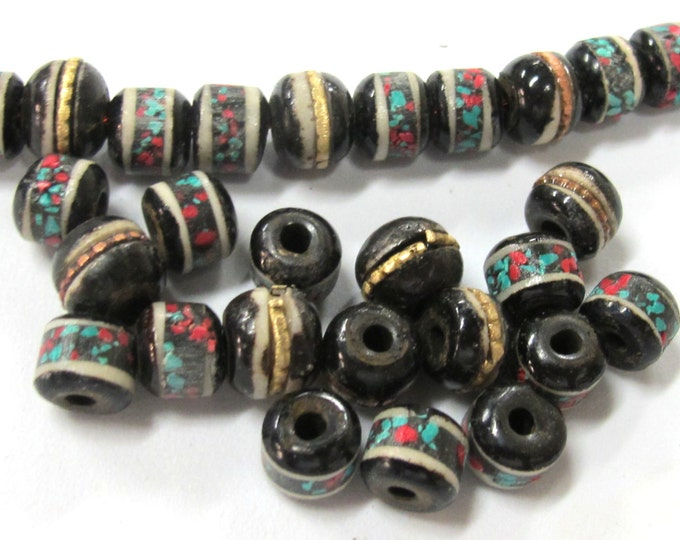 10 beads - 7 - 8 mm Tibetan black brown color bone mala with turquoise brass coral inlay beads supply - ML084B