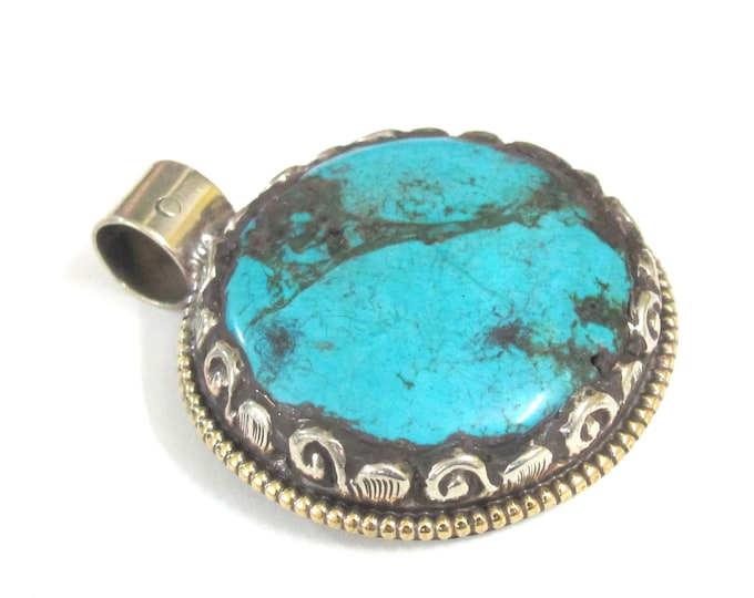 1 Pendant - Tibetan turquoise gemstone pendant with floral design from Nepal - PM581WC