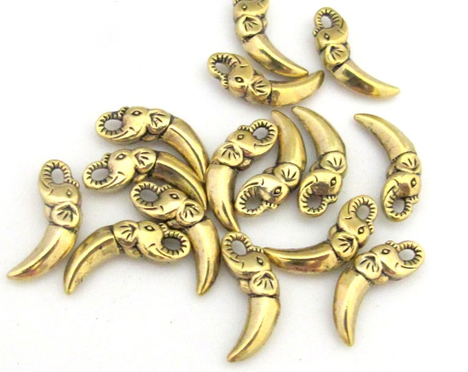 8 Elephant tusk shape small size brass gold tone charms  18 mm x 7 mm - CM095