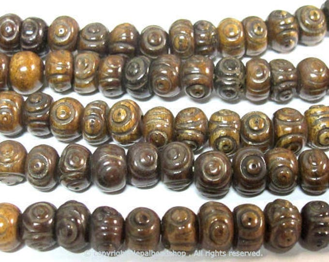 20 beads - Tibetan carved circles dotted dark brown color  bone beads 8 mm size - ML107B
