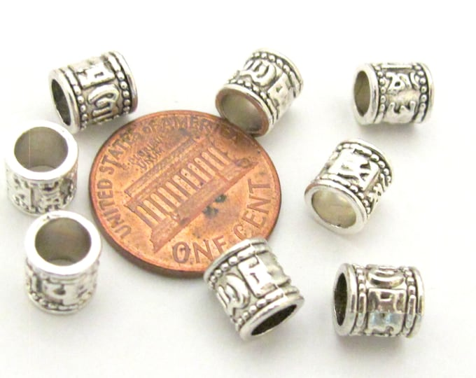 10 Beads - Tibetan om mantra silver tone plated wide hole spacer tube beads 7 mm x 7 mm - BD789