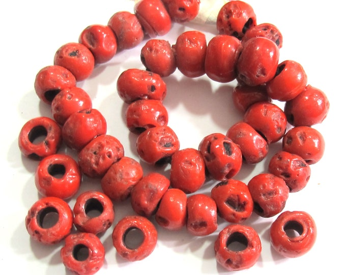 35 Beads Ethnic Nepal sherapa glass beads small rondelle shape Tibetan beads tribal jewelry making supply ethnic beads - STR011