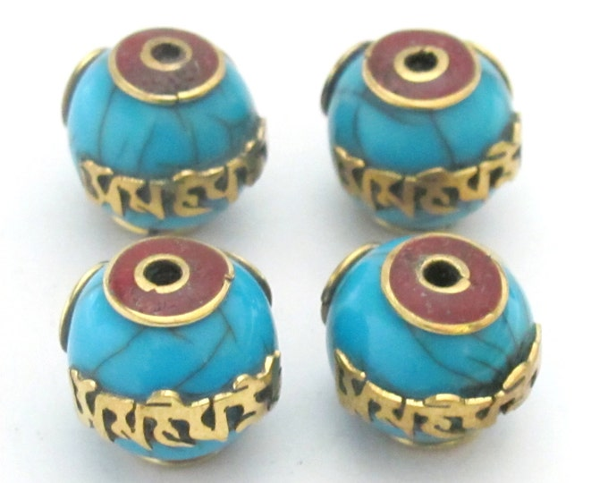 Tibetan blue crackle resin Om mantra bead with brass , coral inlay -  1 bead - BD488B