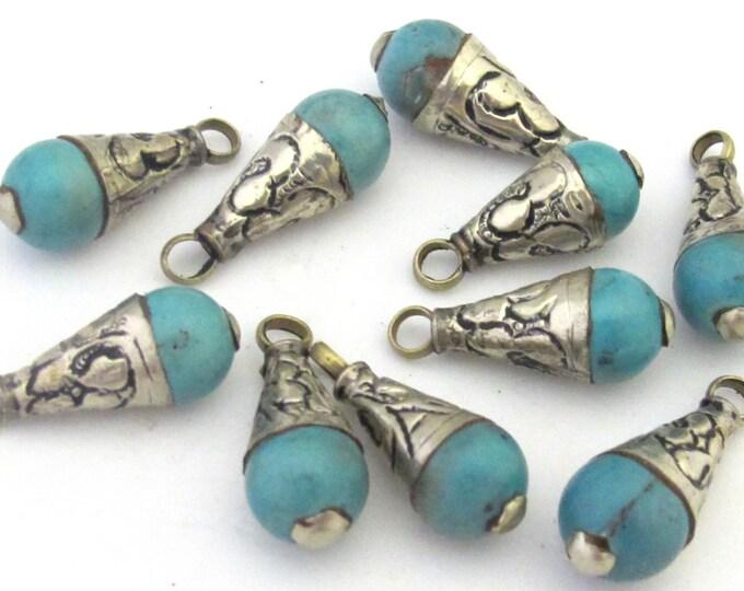 1 Pendant - Small Size Tibetan silver floral bail design turquoise drop pendant -  PM300