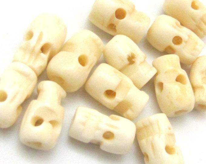 50 BEADS - Ivory white color  skull bone beads - HB052