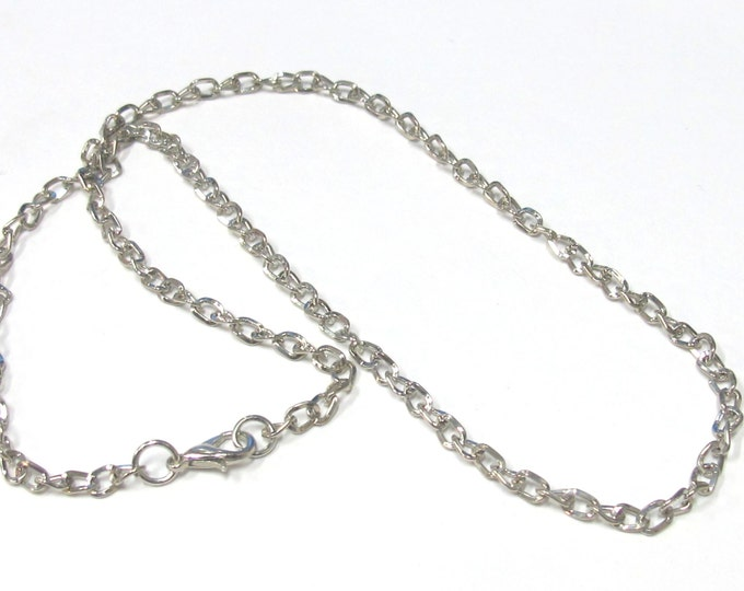 Set of 6 chains  - 18.5 inches platinum color plated link chain with lobster clasp necklace supply  - LN017s