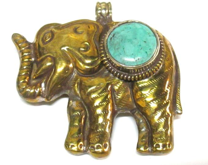 Tibetan pendant elephant brass Nepal pendant Tibetan Large Size  golden color finish brass Elephant pendant turquoise inlaid PM354AB