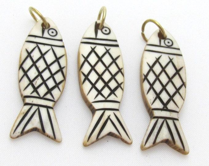Tibetan Carved bone fish design charm pendant - 1 pendant - PB064