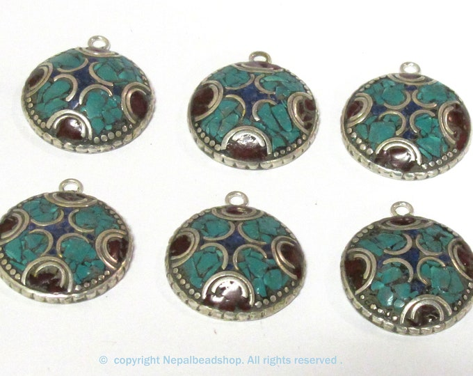 2 charms  - Oval round shape Tibetan silver finish charm pendant with mosaic turquoise coral  lapis inlay - PM616B