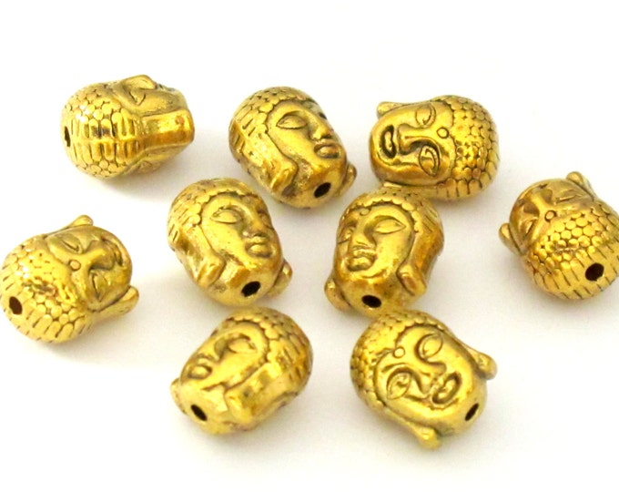 4 Beads-Reversible antiqued golden color plated Tibetan Buddha bead  - BD754