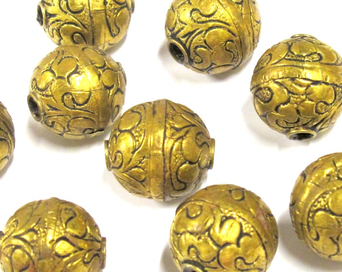 1 BEAD-  Large size 19 - 20 mm Tibetan brass floral repousse antiqued golden tone beads from Nepal -  BD0796