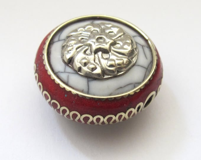 1 BEAD -  Reversible Tibetan white  crackle resin bead with coral and brass inlay and silver floral design - BD519B