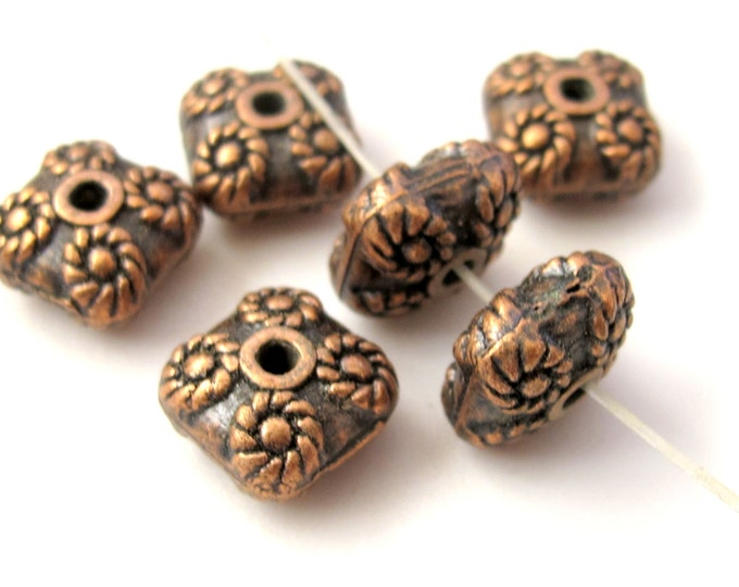 Copper finish square shape metal beads -  10 beads  - BD351