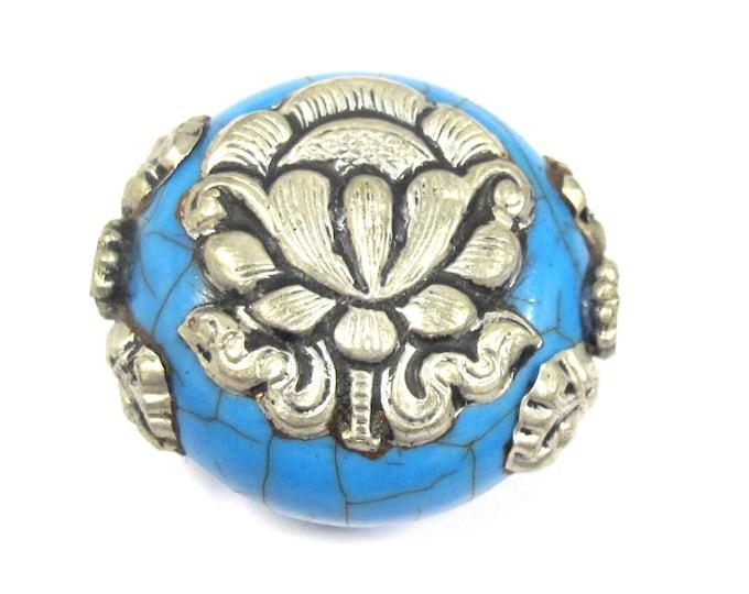 1 Bead - Beautiful large reversible blue crackle resin Tibetan silver Lotus flower bead - BD790