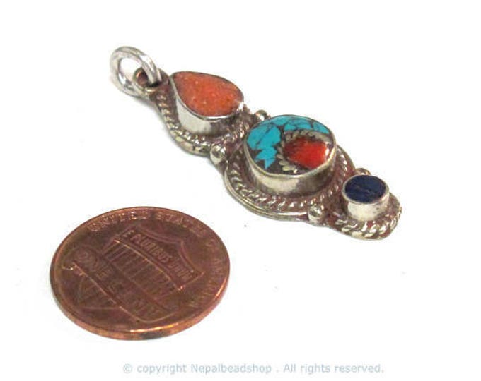 1 pendant - Small linear drop shape Tibetan silver charm pendant with mosaic turquoise coral  lapis inlay - PM575A