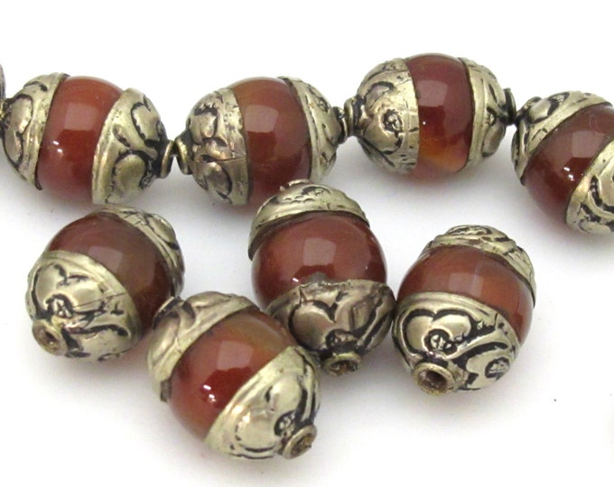 1 BEAD - Tibetan silver capped carnelian agate beads from Nepal 19 -20  mm x 13 -14 mm - BD907