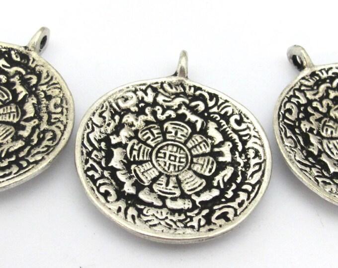 3 pendants -  42 mm Tibetan silver color Om calendar timeline wheel pendant reverse side double dorje - CP111s copyright Nepalbeadshop