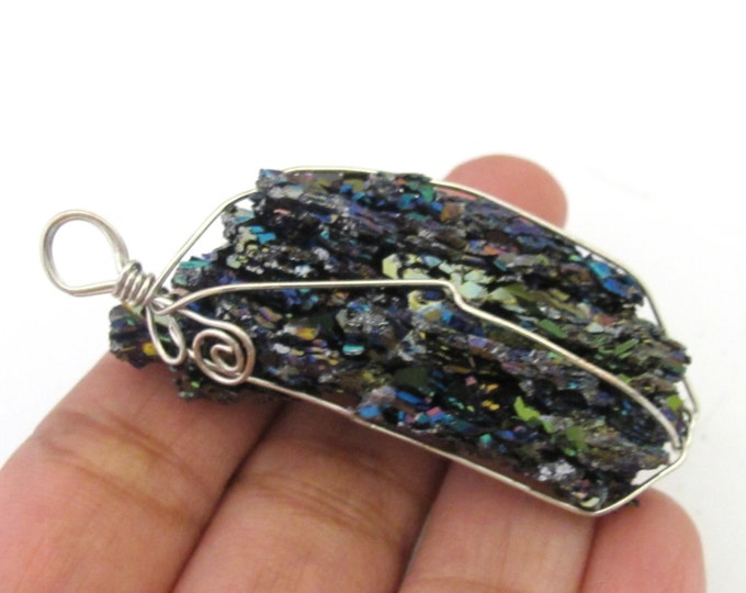 1 Pendant - Large Rough raw electroplated natural quartz gemstone wire wrapped pendant - PM323A