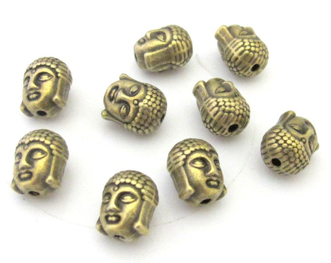 4 Beads-Reversible brass tone plated Tibetan Buddha bead  - BD415A