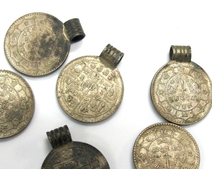 2 Coins-large old Nepal coin pendant charms - BD336