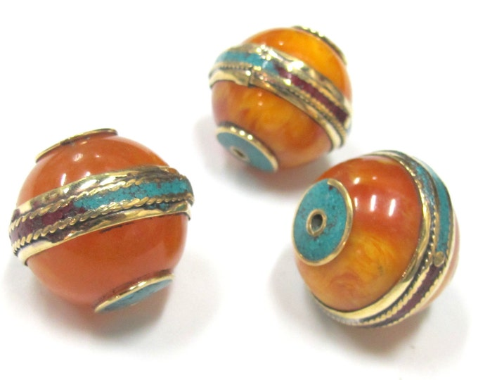 1 Bead - Large Tibetan copal Resin bead with brass band and turquoise and coral inlay - BD764
