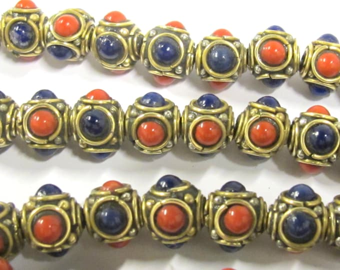 8 beads - Ethnic Tibetan nepal brass beads with red blue resin inlays - BD800s