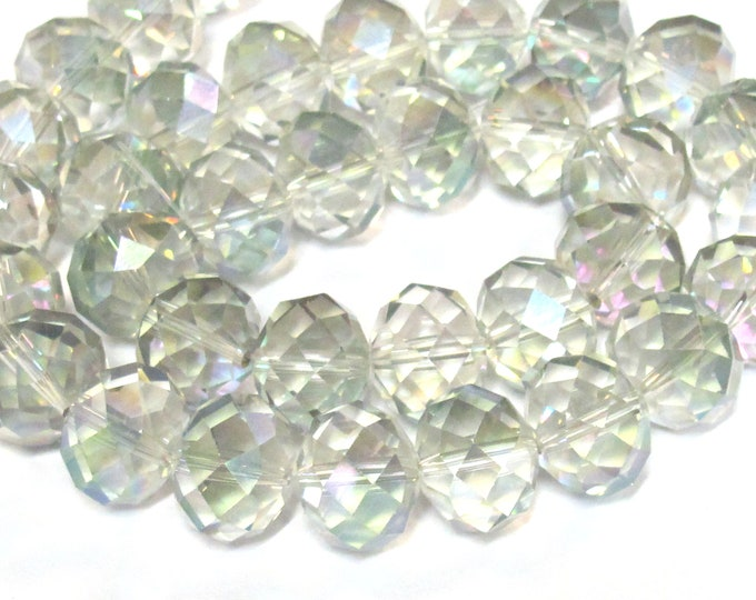 10 beads - Beautiful Large 15-16 mm size Faceted rondelle shape clear shiny color AB crystal glass beads - AB053K