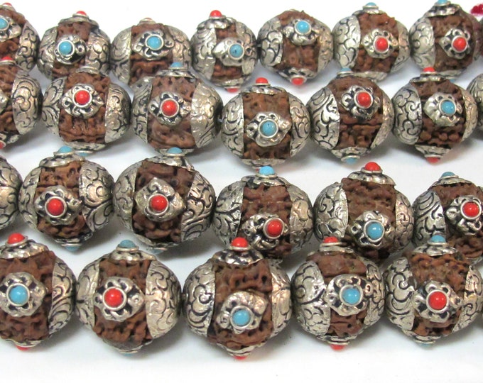 4 Beads - Large size Nepal Rudraksha beads with tibetan silver floral cap infinity knot design on beads mala making spacer supply - NB156