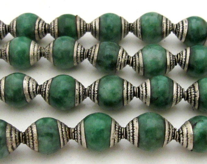 2 Beads - Tibetan silver capped dyed jade beads from Nepal 9 - 10 mm x 12 - 13 mm - BD775