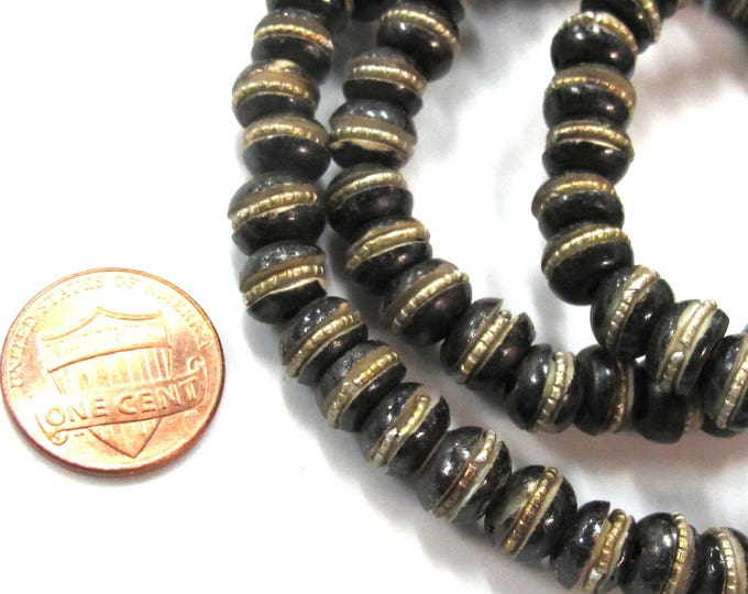 20 beads - 8 mm Tibetan brown black color bone beads with brass inlay - ML102C