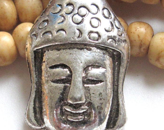 Tibetan Buddha face pendant bead - 1 piece - BD371