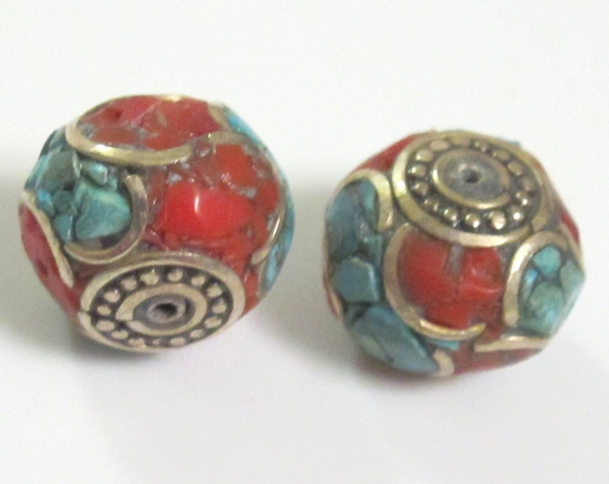 LARGE Tibetan oval shaped brass beads with turquoise coral inlay - 2 beads - BD299